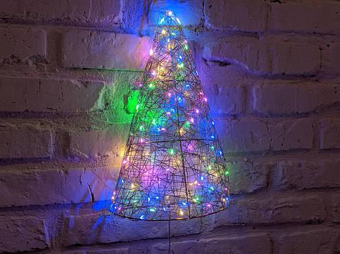 Елка металлическая с гирляндой, железная, лофт, loft, питание от батареек, 100 LED, 45 см., настенная, фото 2