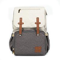 Рюкзак для Мамы на Коляску для Детских Принадлежностей Оригинал Machine Bird (076) Белый с Серым