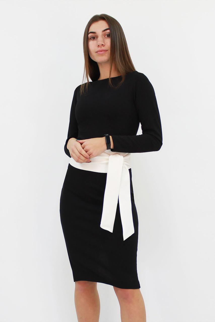 S, M, L / Жіноче класичне плаття з поясом Karina, чорний
