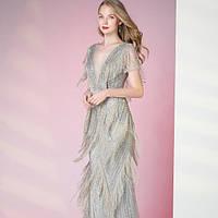Серебряное вечернее платье. Выпускное платье. Вечірня сукня. Вечернее платье ручной работы