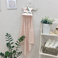 Полотенце-уголок Единорог розовое