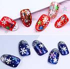 Глиттер снежинки для декора ногтей, набор 3 баночки, фото 4