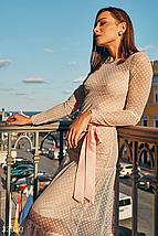 Вечернее пудровое платье в горошек круглый вырез длинный рукав, фото 2