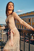 Вечернее пудровое платье в горошек круглый вырез длинный рукав, фото 3