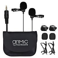 Професійний подвійний петличний мікрофон Ulanzi Arimic для телефону, комп'ютера, планшета, камер (1,5 м)