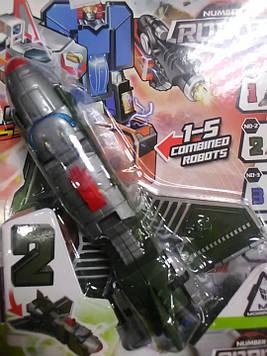 Трансформер робот самолет цифра 2 светло серый