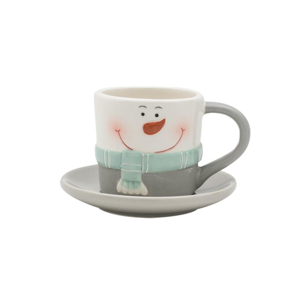 Чашка с блюдцем Снеговик белый 10см 108997