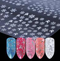 Слайдер дизайн, наклейки снежинки, набор 6 шт, цвет - серебро, фото 1