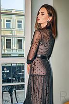 Новогоднее стильное платье макси по фигуре черного цвета, фото 2