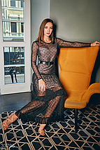 Новогоднее стильное платье макси по фигуре черного цвета, фото 3