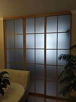 Раздвижная стеклянная перегородка из алюминиевого профиля, фото 1