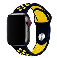 Ремешок браслет сетка Nike Sport Band для Apple Watch 42/44 mm, Deep blue + Yellow