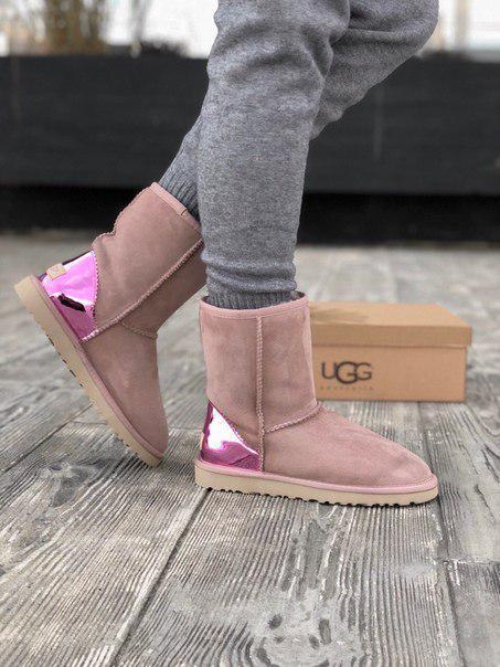 Замшевые розовые женские угги UGG до -25