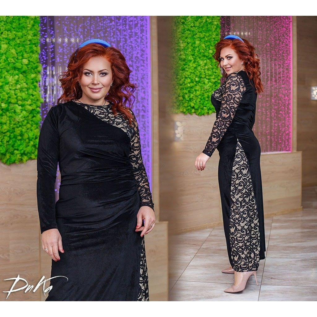 Платье в пол БАТАЛ бархат 04р1554