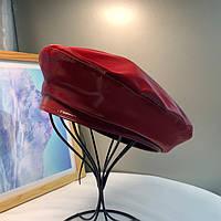 Женский берет из глянцевой плащевки бордовый, фото 1