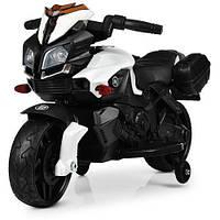 Детский мотоцикл 832, кожаное сидение, EVA резина, дитячий електромобіль, белый