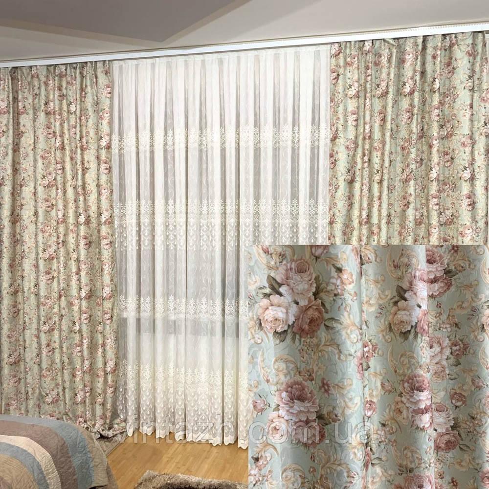 Нежный комплект штор для дома недорого