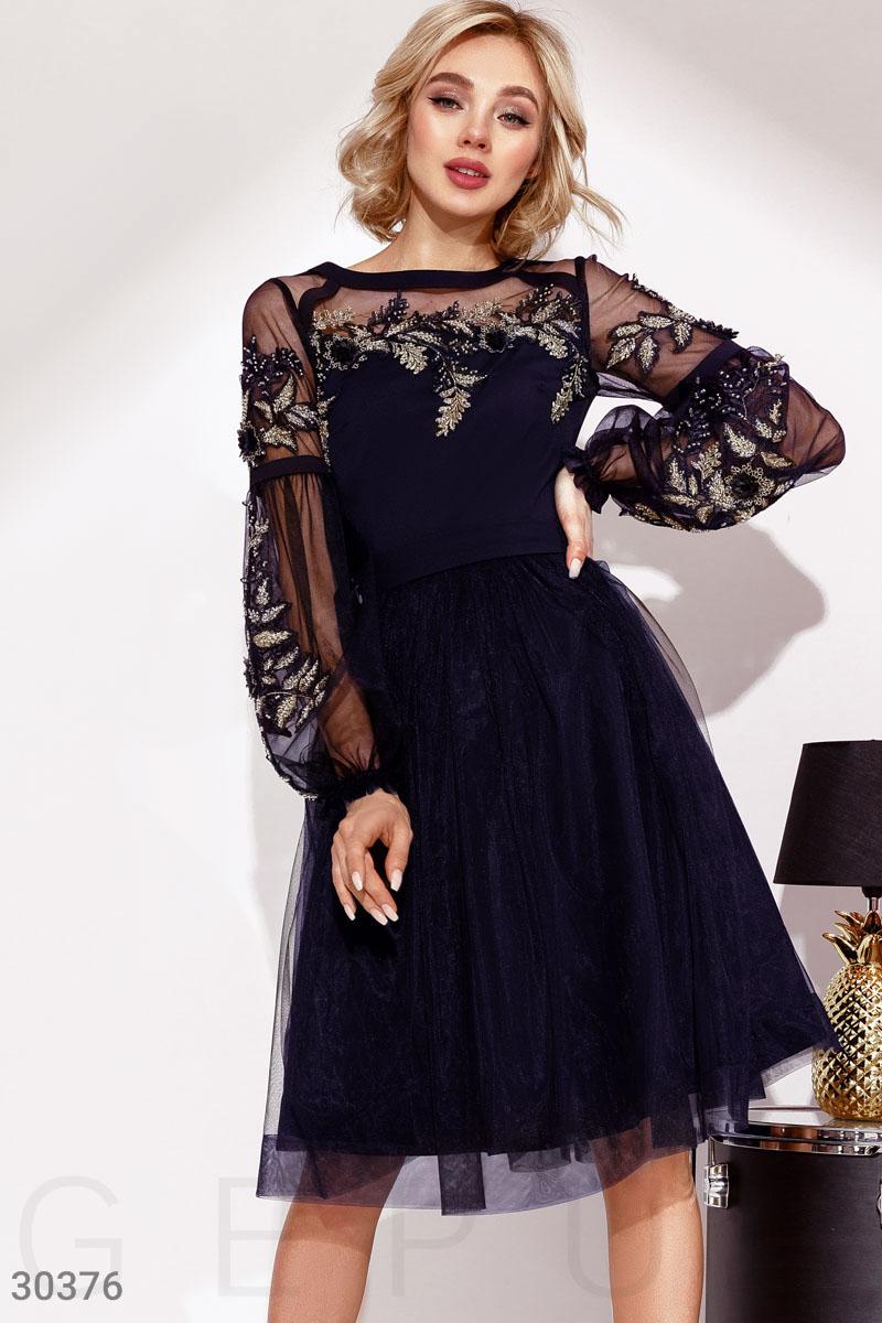 Новогоднее платье миди с фатиновой юбкой темно-синий