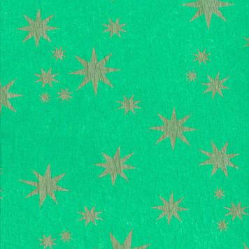 Креп гофро бумага 30 гр/м2 принт Звезды зеленая