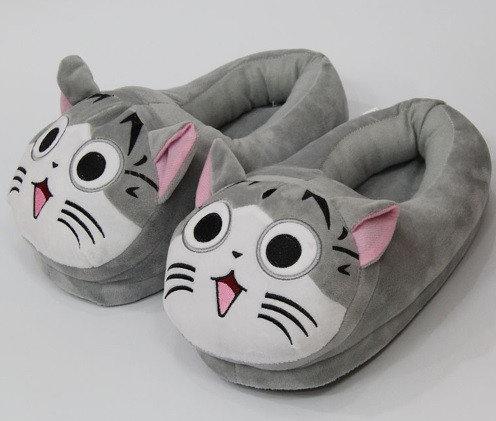 Плюшевые домашние тапочки Коты Серые, фото 1