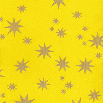 Креп гофро бумага 30 гр/м2 принт Звезды желтая