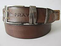 """Ремень мужской джинсовый шпенек (кожа, 40 мм. коричневый) №М17764  """"Remen"""" LM-638"""