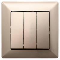 Выключатель тройной Gunsan Visage-2008 бежевый металлик N30449129