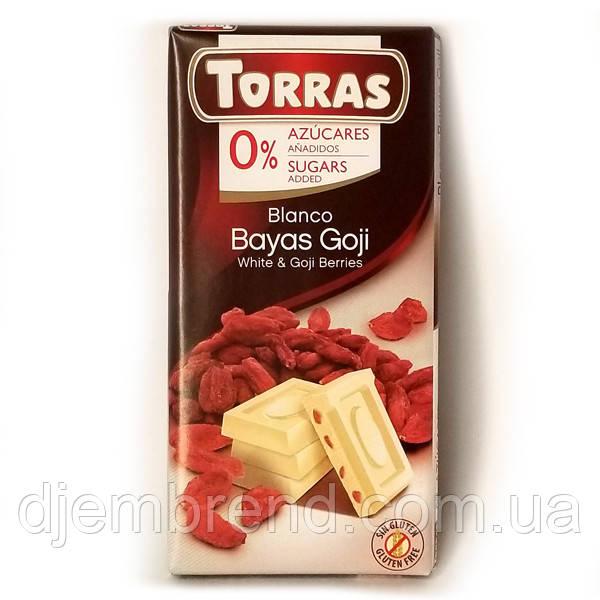 Шоколад белый без глютена и сахара Torras White with Goji с ягодами годжи 75 г