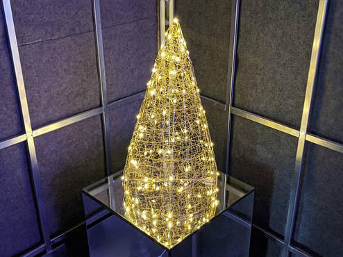 Елка металлическая с гирляндой, железная, лофт, loft, питание от USB, 100 LED, 45 см., настольная., фото 2