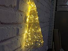Елка металлическая с гирляндой, железная, лофт, loft, питание от USB, 100 LED, 45 см., настенная, фото 3