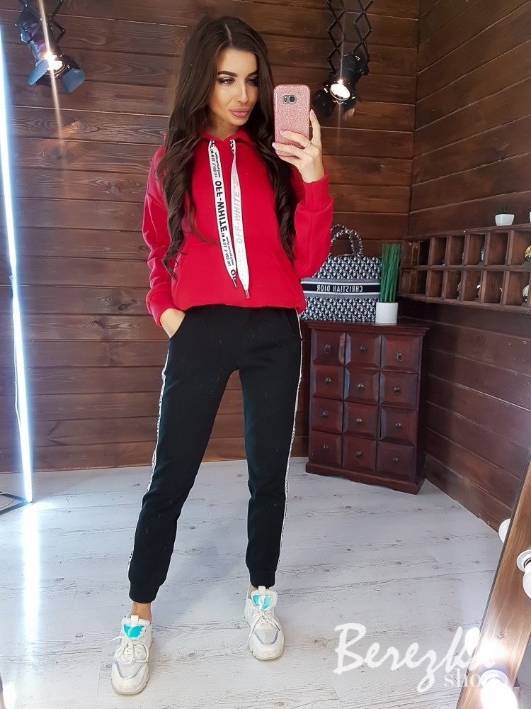 Женский зимний теплый спортивный костюм на флисе пудра красный горцича 42-44 46-48