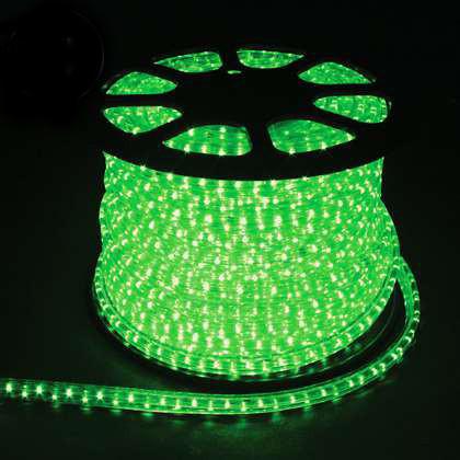 Гирлянда Дюралайт светодиодный шланг, Зеленый, круглый, 10м.
