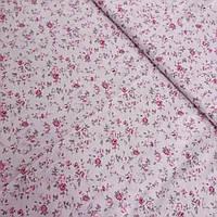 Сатин с мелкими розочками на нежно-розовом фоне, ширина 160 см