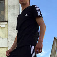 Футболка в стиле Adidas Three line черная  XS