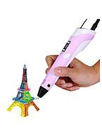 3D ручка 3DPen-2 с дисплеем Розовая с разноцветным PLA пластиком 150 метров