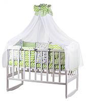 Детская постель Babyroom Bortiki lux-08 stars салатовый - белый, фото 1