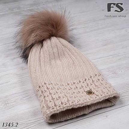 Стильна шапка з помпоном, фото 2