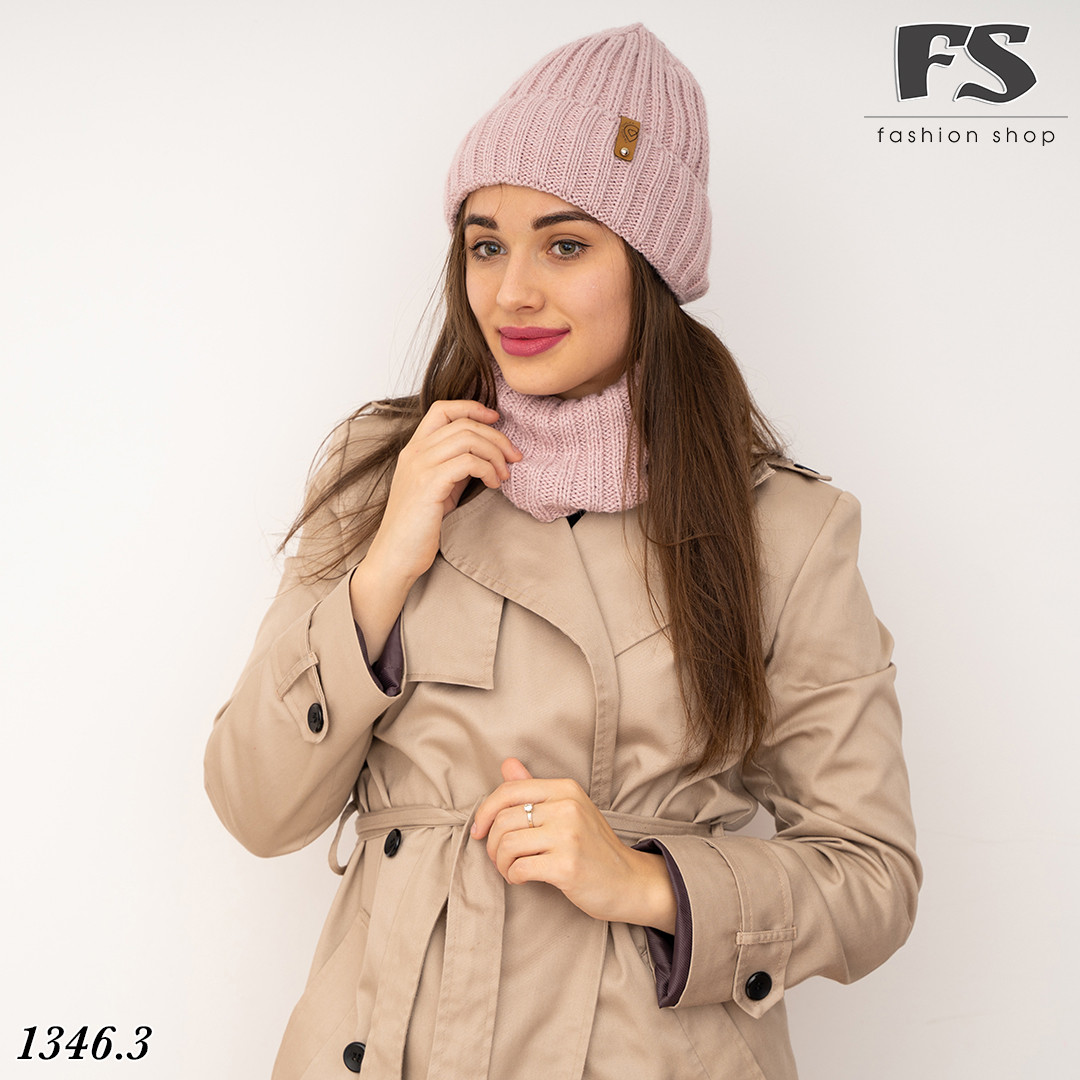 Рожевий набір шапка + хомут