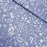 Сатин с цветочками и листочками на синем фоне, ширина 160 см