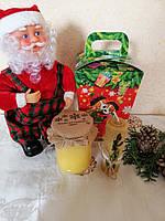 """Новорічний подарунок """"Веселих свят"""" з соняшниковим медом 250 мл"""