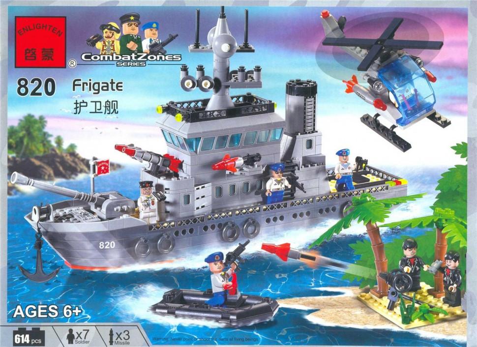 Детский Конструктор BRICK 820 военный корабль