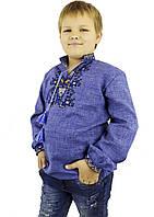 Дитяча вишиванка на джинсі із геометричним орнаментом в етно стилі «Дерево життя»