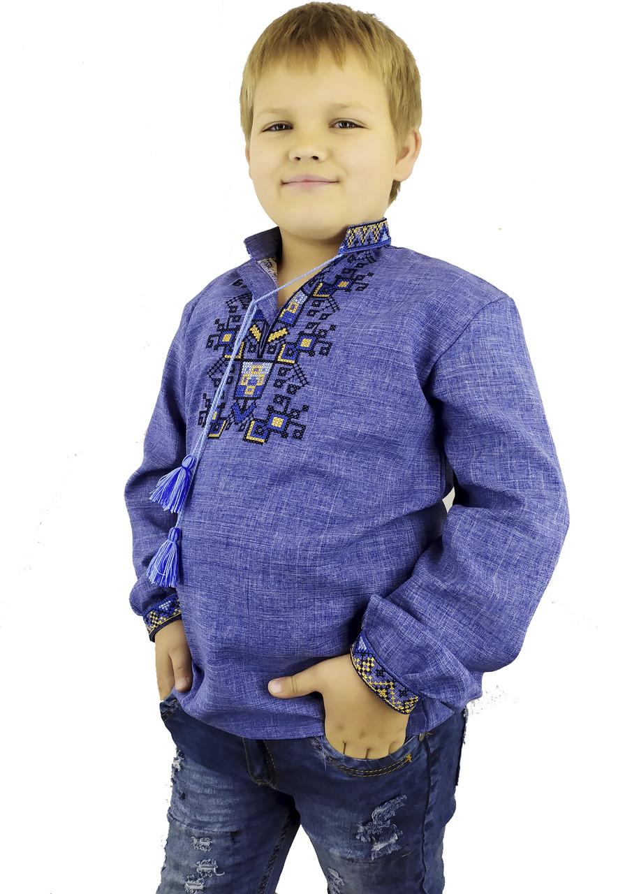 Дитяча вишиванка на джинсі із геометричним орнаментом в етно стилі «Дерево життя», фото 1
