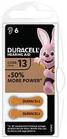 Батарейки для слуховых аппаратов Duracell №13, PR48  в уп 6 шт
