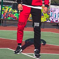 Теплые спортивные штаны Sad Smile черно-красные XL