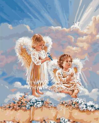 Картина-раскраска Ангелочки с цветами (BRM21565) 40 х 50 ...