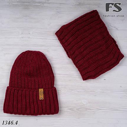 Бордовий набір шапка + хомут, фото 2