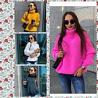 Женский вязаный свитер с хомутом /разные цвета, 42-48, PF-8401/