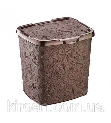 Контейнер для стирального порошка на 6 л Elif plastik Ажур (коричневый), фото 2