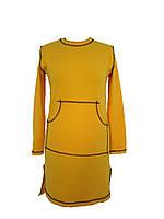 Женское трикотажное платье (желтое)  KLASSNALAVKA, р.44-46